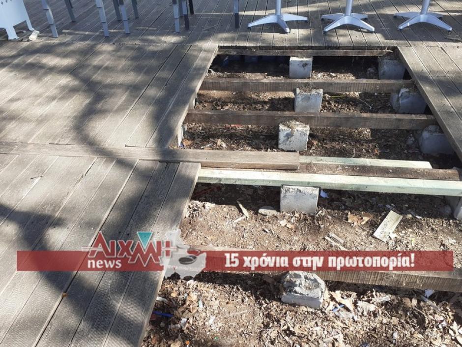 Ναύπακτος. Σε κακό χάλι το ξύλινο δάπεδο της παραλίας Γριμπόβου